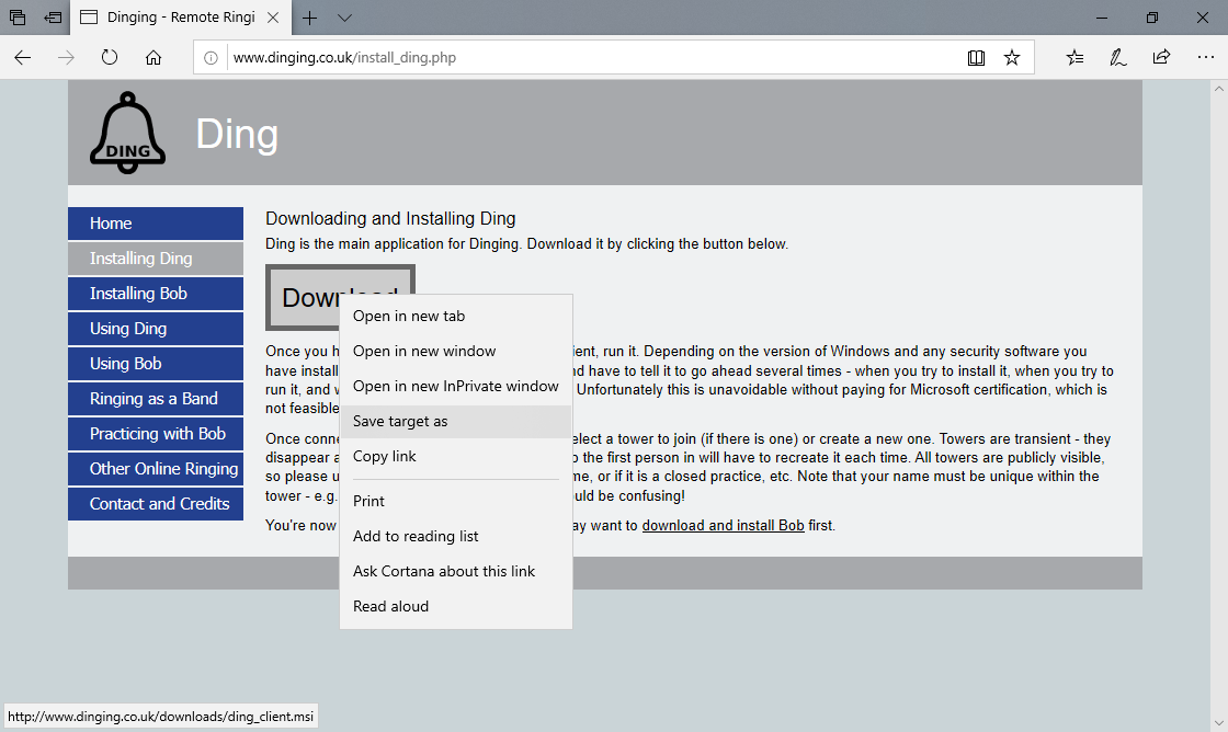 Dinging - Remote Ringing with Ding